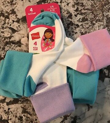 Nwt 4 Pair Pack Girl Socks Size L (4-10)
