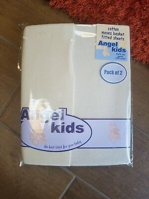 New,  Cream Baby Moses Basket/ Pram/Crib Fitted Sheets by Angel Kids - 2pack