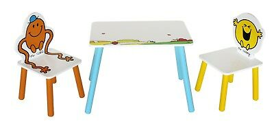 Mr Men -Table & 2 Chairs. Childrens Kids Wooden Table & Chair Set-By Kiddi Style