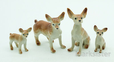 Figurine Ceramic Animal Statue Brown Chihuahua Dog Family - CDG059