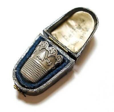Beautiful Old Antique Victorian Or Edwardian Silver Thimble & Hinged Box Af (B3)