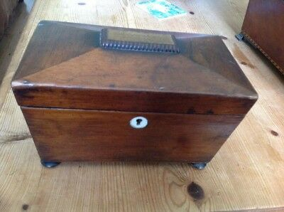 C19th VICTORIAN OAK TEA CADDY BOX & LIDS & BUN FEET £25.00