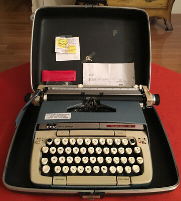 Nice ~ Vtg Smith Corona Scm Twelve 12 Manual Portable Typewritter W/ Case & Key