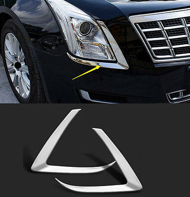 For Cadillac XTS 2015-2017 Silver Stainless Front Eyebrow Lights Cover Trim 2PCS