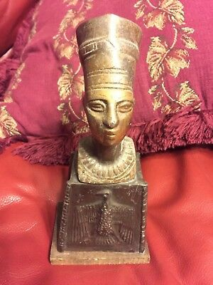 Rare Antiqu Metal Sculpture Bust Figurine Statue Egyptian Queen Nefertiti 8-3/4""