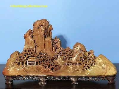 """Large 14""""W Chinese Qingtian Soapstone Mountain Landscape Carving Figurine"""