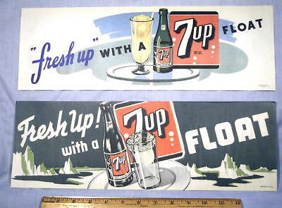1948 Soda Fountain  7up   Ice Cream Float Signs