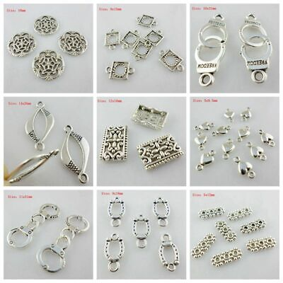 Metal Silver 2 Hole Connectors Charms Pendants DIY Jewelry Findings Mixed Size