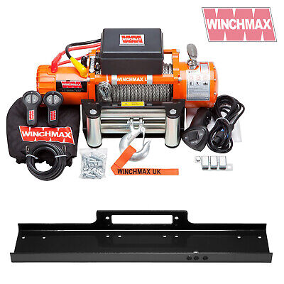 ELECTRIC WINCH 12V 4x4/RECOVERY 13500 lb WINCHMAX BRAND + MOUNTING PLATE + ISO