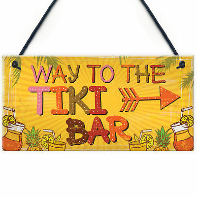 ✅ NEW Wood WELCOME TO OUR TIKI BAR Party Hanging Sign Door Plaque Decoration