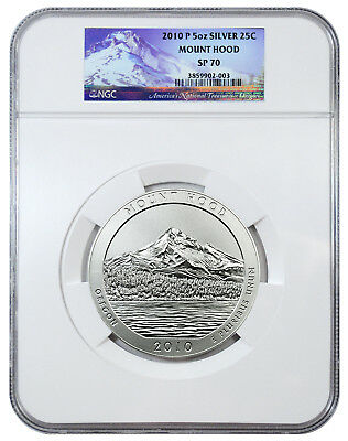 2010-P 5 oz. Silver America Beautiful ATB NP5 Mount Hood 25c NGC SP70 SKU24039