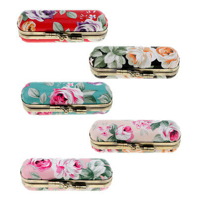 Flower Design Retro Portable Lipstick Case Holder Box Mirror Lady Girls Gift