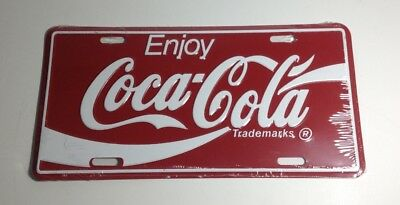 COCA COLA Red White Enjoy Classic Logo Metal License Plate Tag New!