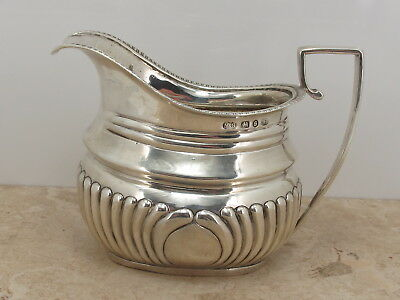 Antique Victorian Sterling Silver 925 Fluted Cream Jug c1892