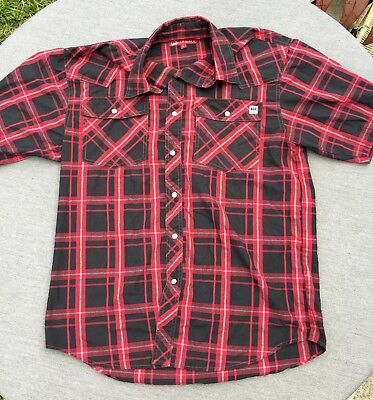 Vintage Men's Red INTERNATIONAL HARVESTER FARMALL Western Snap Button Shirt SZ M