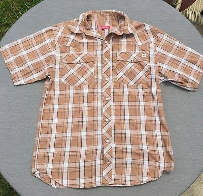 Vintage Men's TAN INTERNATIONAL HARVESTER FARMALL Western Snap Button Shirt SZ M