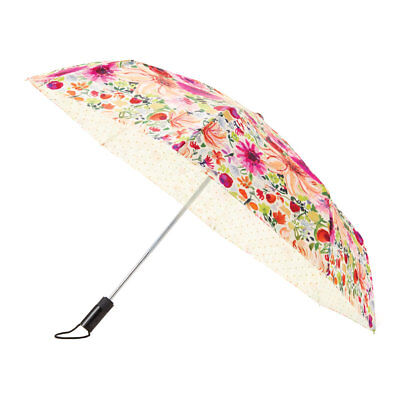 Kate Spade New York Umbrella, Dahlia, Double Sided Floral and Dots