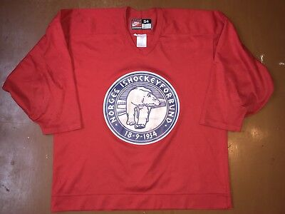IIHF Practice NORWAY Ice Hockey Jersey Shirt NORGE Ishockey NIKI Size 54 XL RED