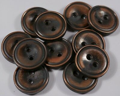 sheet copper metal wrapped industrial style buttons | 2 two hole | 23mm