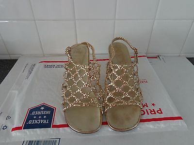 VINTAGE LATE 60's or 70's  TOM McAN - MADE IN ITALY GOLD SANDALS SHOES 5B