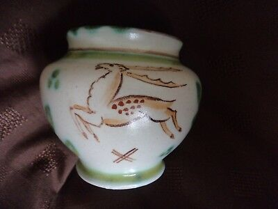 Honiton Pottery posy vase rare Woodland leaping brown deer Collard collectable