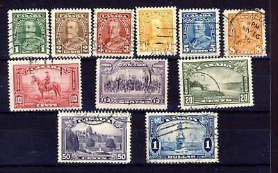 11x Canada used stamps; George V Pictorial  Issue #217 to 227 Fine/VF CV= $25.00