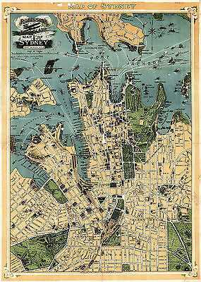 1922 Aeroplane Map of Sydney New South Wales Australia Wall Poster Home School