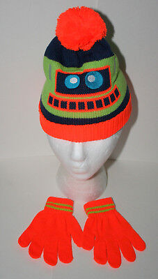 29485ba7f7ca8 Cute Knit Green Robot Winter Cap Gloves New Toddler Infant Mitten Hat Set