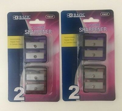 2 X 2Pc Eye & Lip Pencil Sharpener-Think & Thin Jumbo Pencil Cosmetic Sharpener