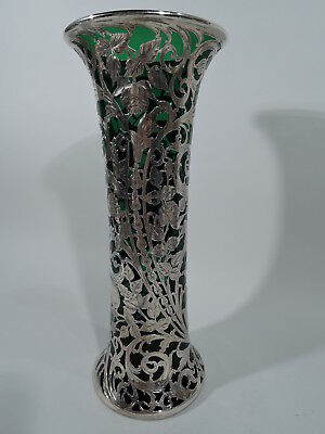Alvin Vase - G3329 - Antique Tall  - American Emerald Green Glass Silver Overlay