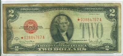 1928 G $2 Red Seal U.s. Note  *** Star Note ***