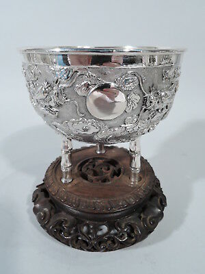 Export Bowl - China Trade Asian Antique Bamboo Dragon - Chinese Silver Rosewood
