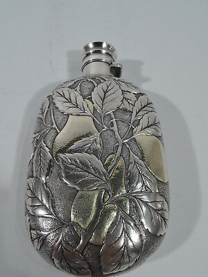 Gorham Flask - 76 - Antique Barware - American Sterling Silver & Parcel Gilt