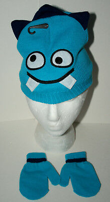 f70274e2bc095 Cute Knit Blue Monster Winter Cap Glove New Toddler Infant Mitten Hat Set