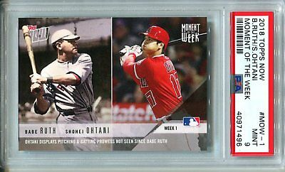 2018 Topps Now MOMENT OF THE WEEK MOW-1 Shohei Ohtani Babe Ruth ROOKIE ~ PSA 9