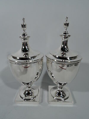 Tiffany Urns - 19283 - Pair of Antique Covered Vases - American Sterling Silver