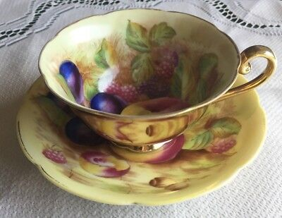Made in Occupied Japan Orchard Fruit Gold Tea Cup and Saucer - c1945-52 Thistle