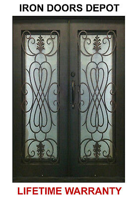 110D Front Entry Pre-hung Iron Double Door with Operable Glass - 4 Sizes
