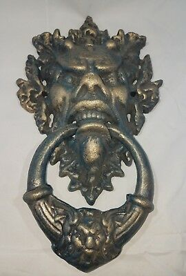 Huge Antique Cast Iron Victorian? Door Knocker. Horned Satyr, Devil, Demon? 15""