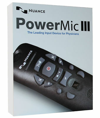 Nuance PowerMic III Speech Recognition Dictation Microphone 9ft Cord 0POWM3N9