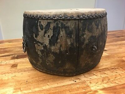 """Antique 8 X 13"""" Primitve Hand Made 2-Sided Black Wood & Leather Drum Wire Inside"""