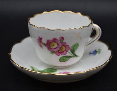 Meissen German Hand Painted Pink & Blue Flowers & Gold Scalloped Cup & Saucer