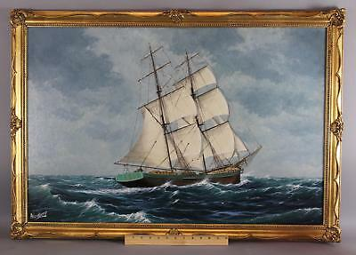Authent A.H. Nordberg Maritime Sailing Clipper Ship Oil Painting Swedish Artist