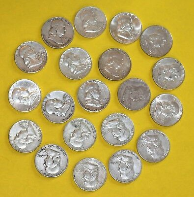 20 coins ($10) Franklin Half Dollars, 90% Silver Coin Lot, Circulated