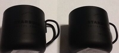 Starbucks Pair Of Wrought Iron SS 3oz Espresso Cups Curved Metal Handles NWT