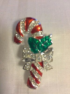 Christmas In July. Beautiful Silver Candy Cane W/white Crystals.