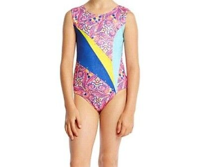 JACQUES MORET Girls Sleeveless Colorful Dance Leotard Size S 7/8 NEW