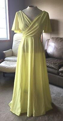 Vintage 1970's Women's Full Length Yellow Summer Dress Special Occasion Small