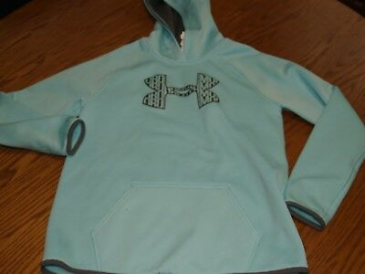 GIRLS~YOUTH Under Armour Hoodie Sweatshirt Size L MINT BLUE SCHOOL