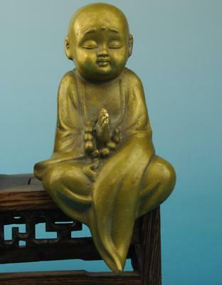 Antique china hand made copper monk Chanting statue old collect c01